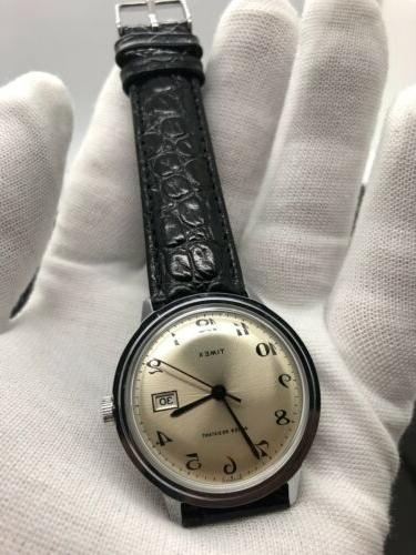 NEW OLD STOCK Timex Size Manual Wind Silver Day Date