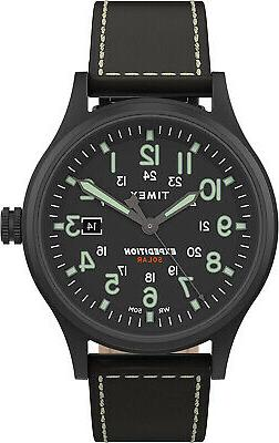 Timex Men's TW4B18500 Expedition Scout Solar 40mm Black Leat