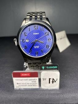 Timex Men's Elevated Classic Blue Textured Dial Date Indiglo
