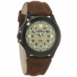 Mens Timex Indiglo Expedition Brown Leather Band Brown Dial