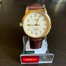 NEW Timex Men's Watch Leather Strap Indiglo Light Goldstone