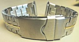 New Mens Timex Stainless Steel 16-22 mm Watch Band Security