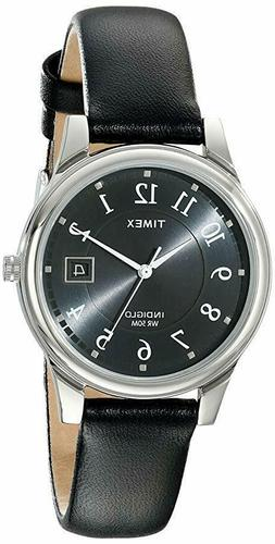 Timex T29321, Men's Easy Reader Black Leather Watch, Indiglo